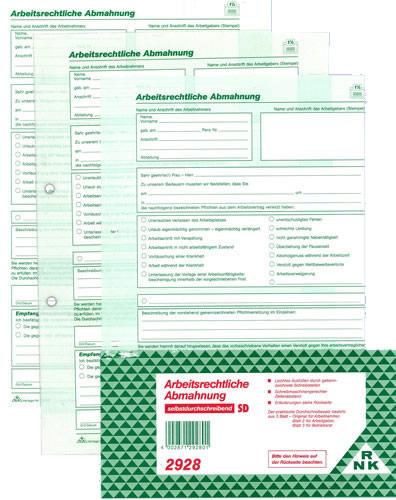 Formular Arbeitsrechtliche Abmahnung Nr 2928 Von Rnk Im Online