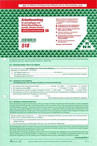 Formular Arbeitsvertrag Für Geringfügige Beschäftigung Und Mini Job